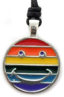 Rainbow Smiley Pewter Pendant Necklace