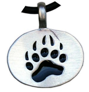 Bear Paw Pewter Pendant Necklace