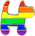 Rainbow Dog Lapel Pin Badge