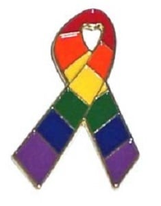Rainbow Ribbon Lapel Pin Badge