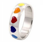 Rainbow Heart Design Surgical Steel Ring