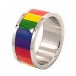 Horizontal Rainbow Surgical Steel Ring