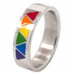 Rainbow Triangle Design Surgical Steel Ring
