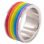 Rainbow Rubber Rings Surgical Steel Ring