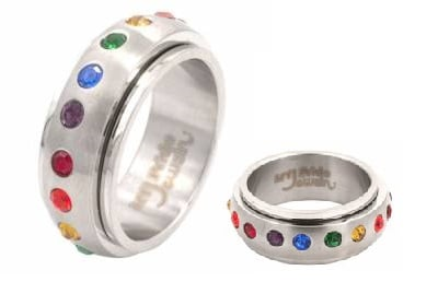 Rainbow Spinner Surgical Steel Gem Ring