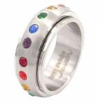 Rainbow Spinner Surgical Steel Gem Ring