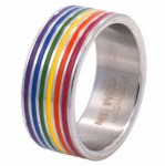 Rainbow Stripes Surgical Steel Ring
