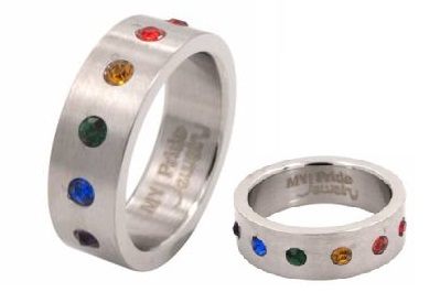 Rainbow Gem Surgical Steel Ring