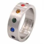 Rainbow Gem Surgical Steel Ring