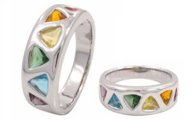 Rainbow Triangle  Gem Surgical Steel Ring
