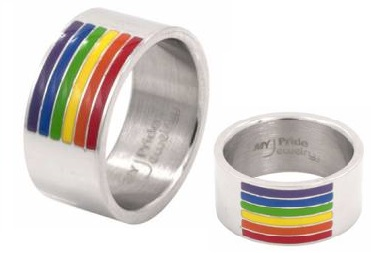 Rainbow Channel Stripes Surgical Steel Ring