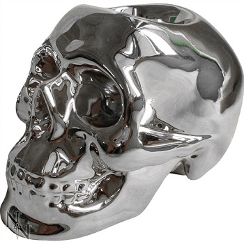 Silver Skull Tealight Holder
