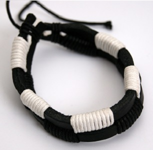 White/Black double leather & cord bracelet/wristband