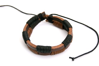 Brown/Black double leather & cord bracelet/wristband