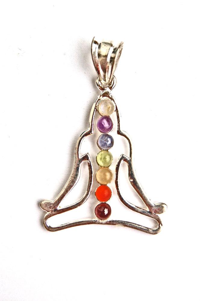 Meditating Buddha  7 Crystal Chakra Pendant on Chain - Gift Box - FREE SHIP UK