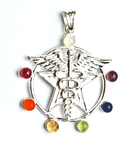 Caduceus on Star 7 Crystal Chakra Pendant on Chain - Gift Box