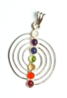 Sacred Spiral 7 Crystal Chakra Pendant on Chain - Gift Box - FREE SHIP UK