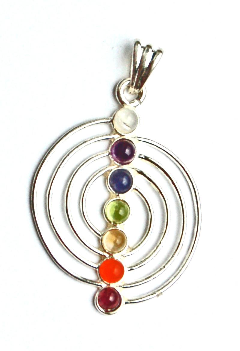 Sacred Spiral  7 Crystal Chakra Pendant on Chain - Gift Box
