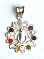 Meditating Buddha in Flower Wheel 7 Crystal Chakra Pendant on Chain - Gift Box - FREE SHIP UK