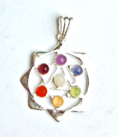 Star of  David 7 Crystal Chakra Pendant on Chain - Gift Box - FREE SHIP UK