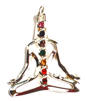Meditating Buddha  7 Cut Glass Crystal Chakra Pendant on Chain - Gift Box - FREE SHIP UK
