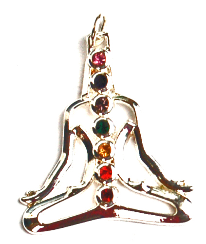 Meditating Buddha  7 Cut Glass Crystal Chakra Pendant on Chain - Gift Box -