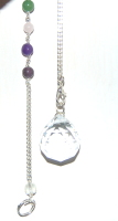 Pretty 20mm Suncatcher Facetted Hanging Crystal Feng Sui with 7 crystal chakra chain