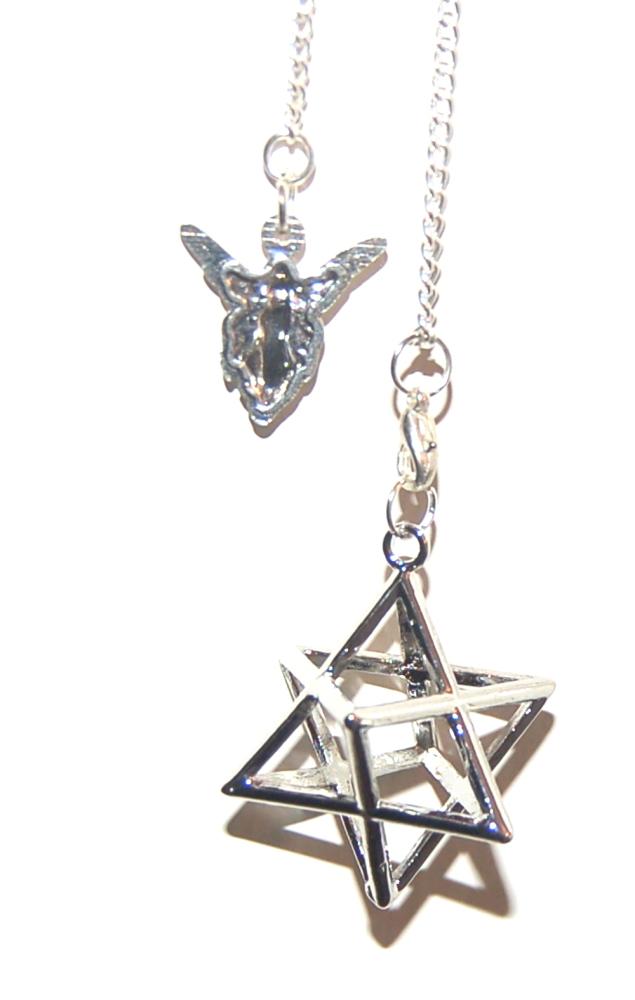 Powerful Metal Silver Tone Merkabah Merkaba on Angel Pendulum Chain