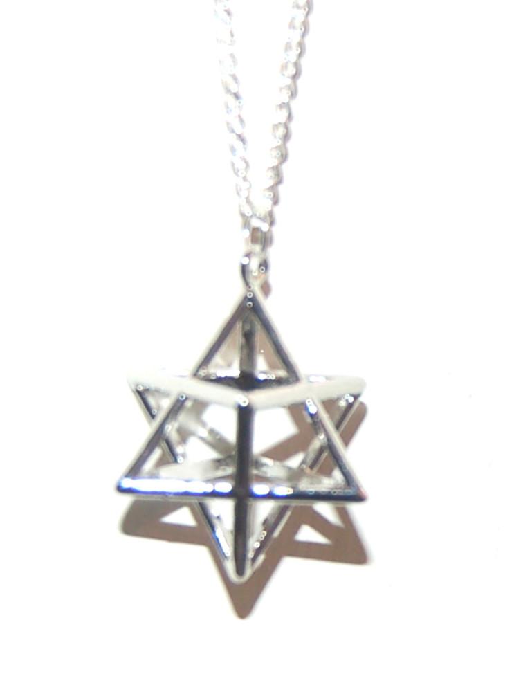 Powerful Metal Silver Tone Merkabah Merkaba  Pendant on Chain Boxed Gift