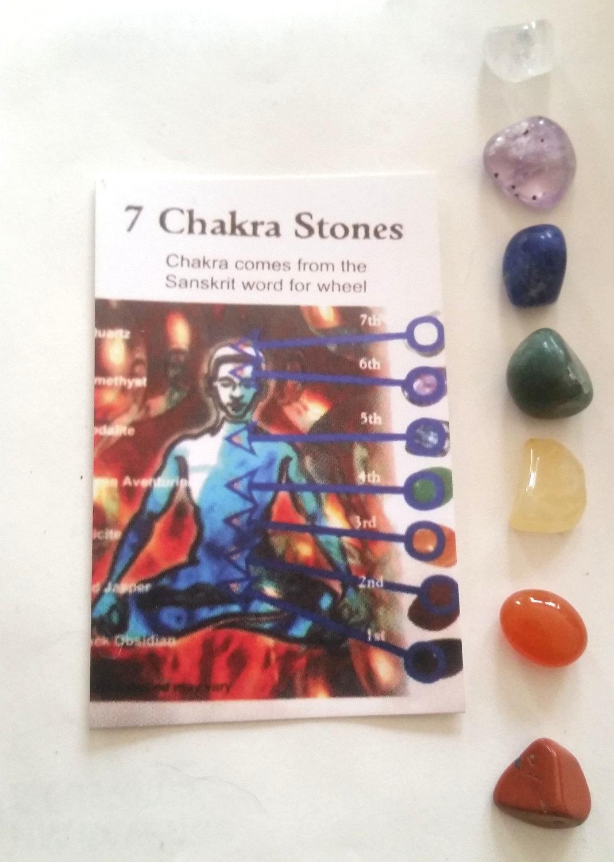 Wholesale 10 New Improved Medium Sized Tumblestone Chakra Set Reiki  -Pouch