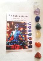 Wholesale 10  Small  Sized Tumblestone Chakra Set Reiki  -Pouch and Image of Chakras