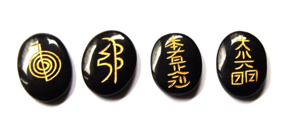 Powerful Black Tourmaline Crystal Usui Carved Discs All Usui Reiki Symbols