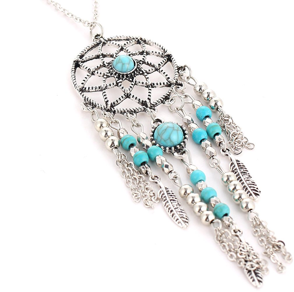 """Beautiful  3 and 1/2"""" Large Native American DreamCatcher Pendant on Long Chain"""