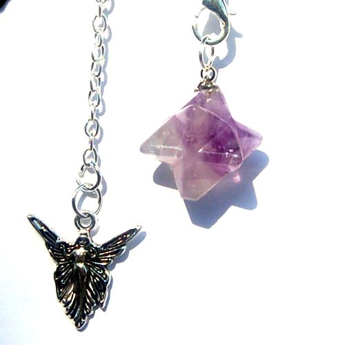 Powerful Small Carved Amethyst Crystal Merkabah Pendulum and Angel Chain