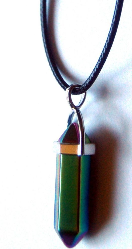 Powerful Rainbow Aura Double Terminated Crystal Pendant on Black Cord - Bri