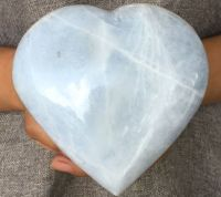 Very Large Powerful Blue Calcite Crystal Heart - Helps you Speak your truth in the world - THROAT CHAKRA
