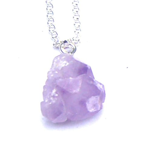 Amethyst Crystal Cluster Pendant Boxed Gift on Chain - Spiritual Light FREE