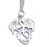 LARGE Silver Tone Dragon Pendant on Chain Boxed Gift FREE SHIP UK Khaleesi