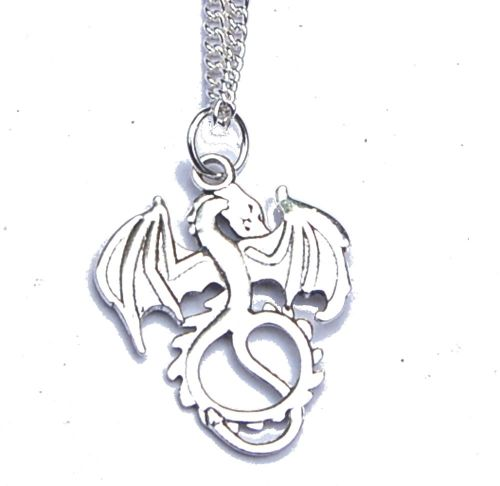 LARGE Silver Tone Dragon Pendant on Chain Boxed Gift FREE SHIP UK