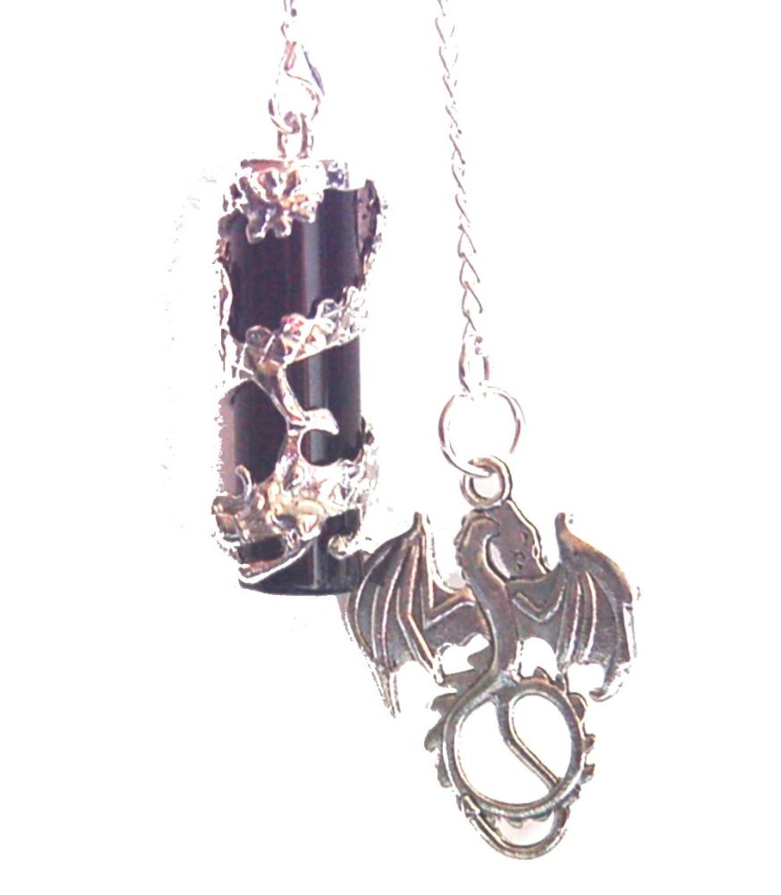 LARGE Dragon Glass Obsidian Pendulum Dowser Dragon Charm Boxed Gift  GOT Whitewalkers Khaleesi FREE SHIP UK