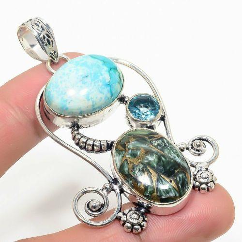 Seraphinite & Chrysocolla 925 Silver Crystal Pendant Sacred Sound Inner Chi