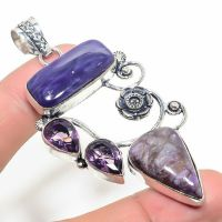 Very Large Russian Charoite & Amethyst  Crystal Gemstone 925 Sterling Silver Jewelry Pendant Size 3  Boxed Gift