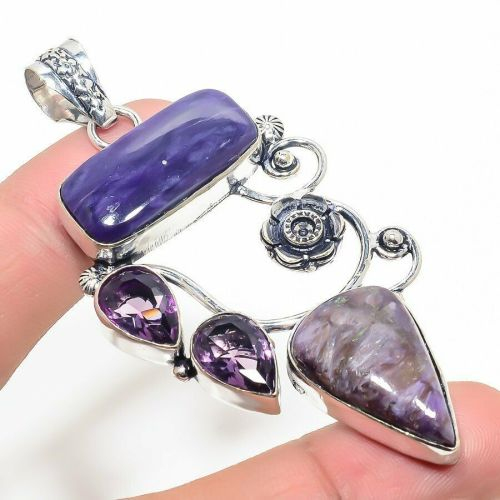 Very Large Russian Charoite & Amethyst  Crystal Gemstone 925 Sterling Silve