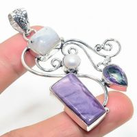 Very Large Russian Charoite & Moonstone  Crystal Gemstone 925 Sterling Silver Jewelry Pendant Size 3  Boxed Gift