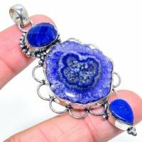 Very Large Solar Quartz & Lapis Lazuli = 925 Sterling Silver Jewelry Crystal  Pendant Size 2.96 Crystal   Boxed Gift