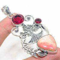 Very Large Rhodochrosite Inner Child Healing Garnet  925 Silver Crystal Pendant on Chain Boxed Gift
