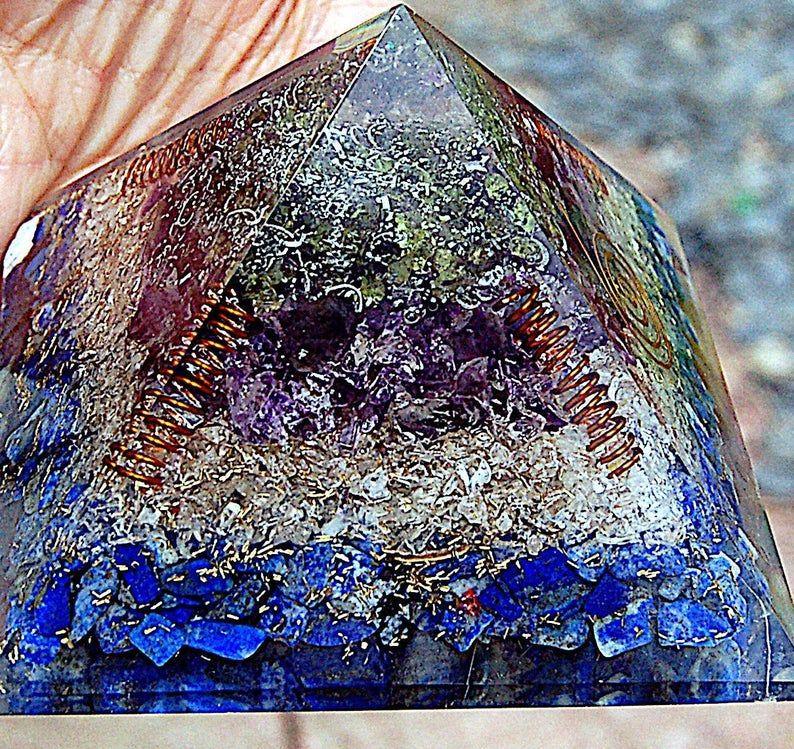 75mm Powerful Pyramid Moldavite Lapis, Amethyst Copper Spiral Orgone Orgoni