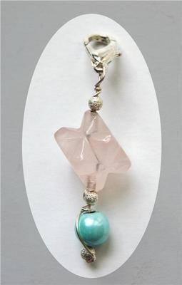 Silver Wrap Rose Quartz Crystal Merkabah & Magnetic Clip Pendant/Pendulum -