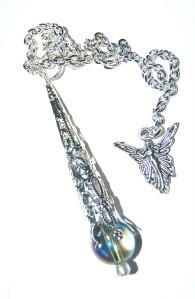 Amazing Mystic Celestial or Tanzine Blue Aura Quartz Crystal Pendulum & Ang
