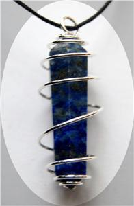 Double Terminated Lapis Lazuli Pendant in Spiral Metal Chakra Crystals